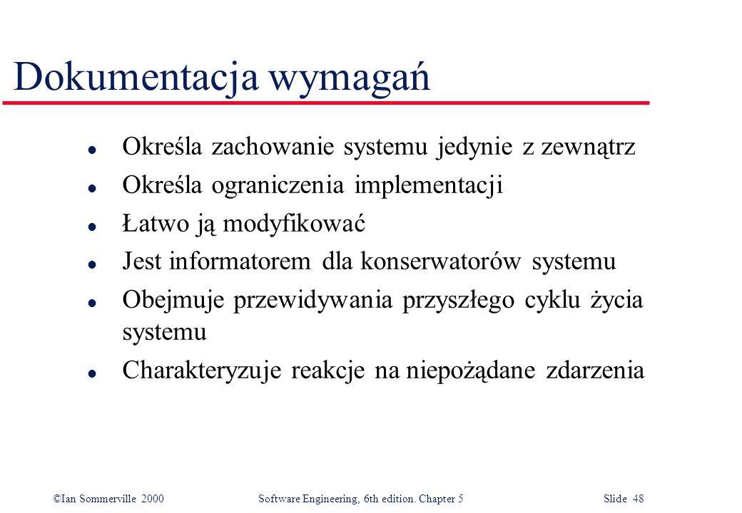 Dokumentacja wymagań Określa zachowanie systemu jedynie z zewnątrz