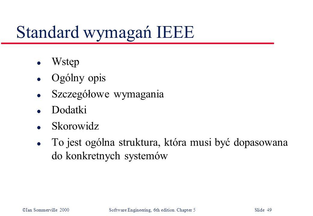 Standard wymagań IEEE Wstęp Ogólny opis Szczegółowe wymagania Dodatki