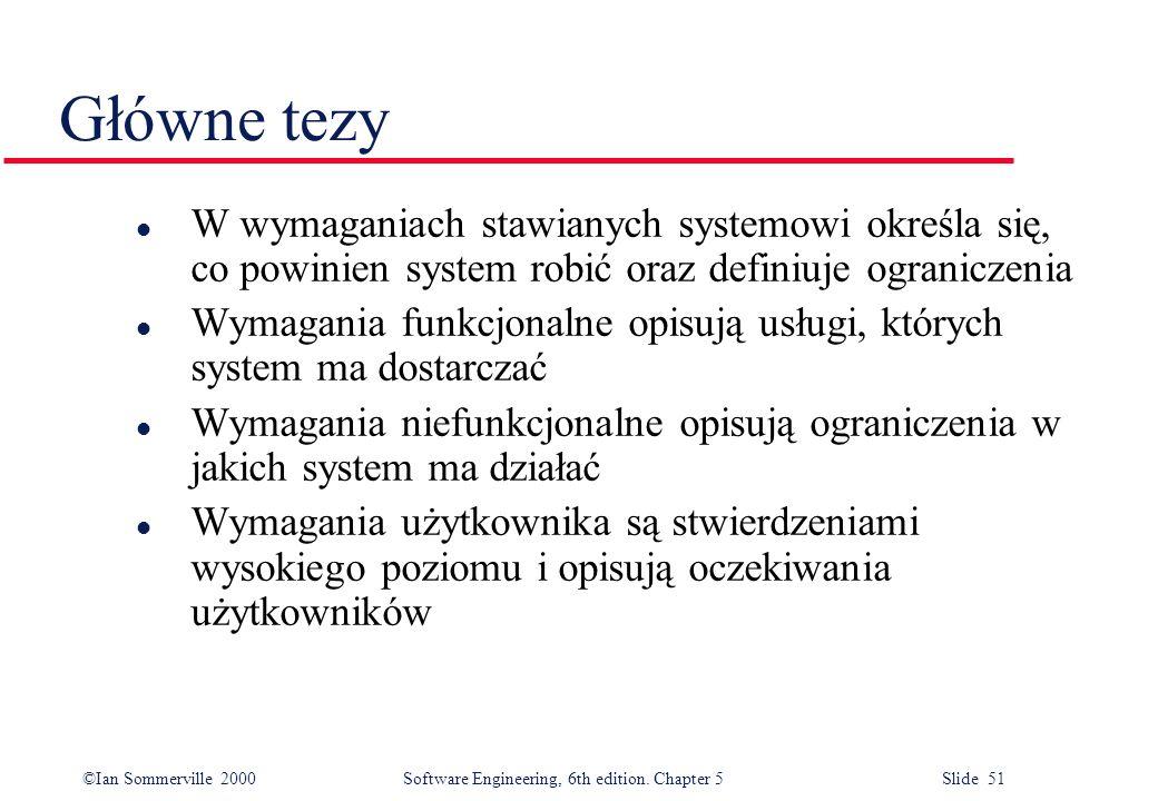 Główne tezy W wymaganiach stawianych systemowi określa się, co powinien system robić oraz definiuje ograniczenia.