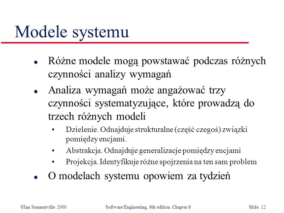 Modele systemuRóżne modele mogą powstawać podczas różnych czynności analizy wymagań.