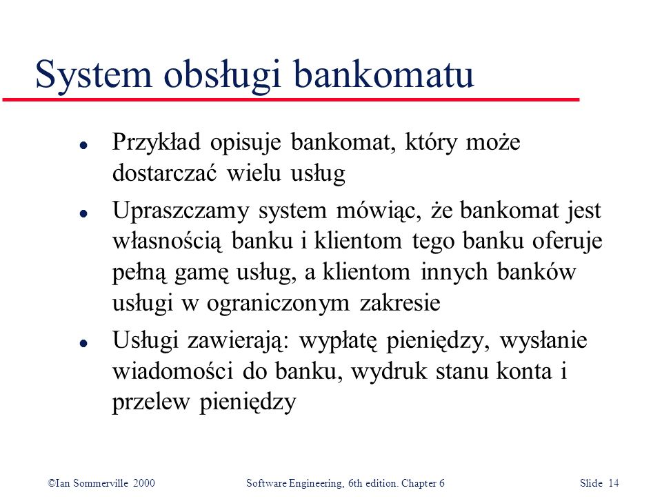System obsługi bankomatu