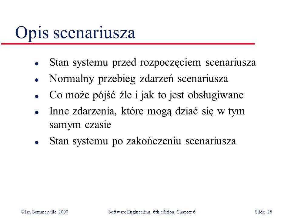 Opis scenariusza Stan systemu przed rozpoczęciem scenariusza