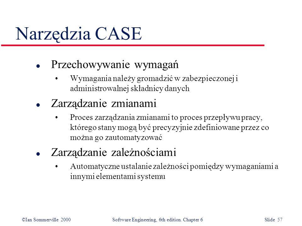Narzędzia CASE Przechowywanie wymagań Zarządzanie zmianami
