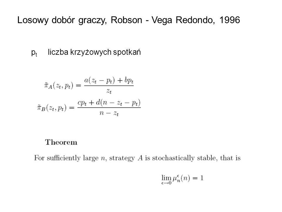 Losowy dobór graczy, Robson - Vega Redondo, 1996
