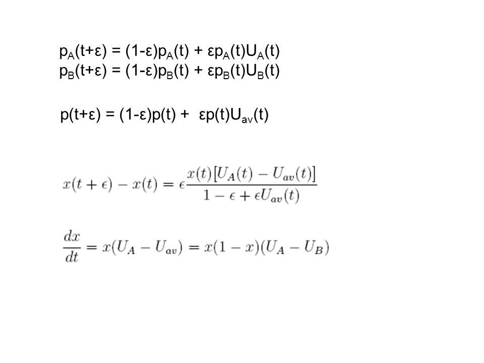 pA(t+ε) = (1-ε)pA(t) + εpA(t)UA(t)