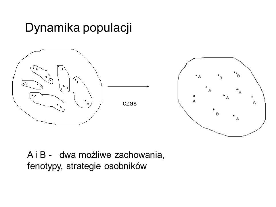 Dynamika populacji A i B - dwa możliwe zachowania,