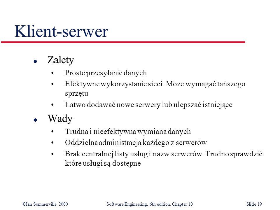 Klient-serwer Zalety Wady Proste przesyłanie danych