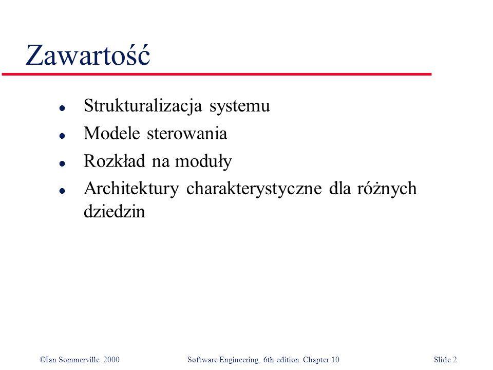 Zawartość Strukturalizacja systemu Modele sterowania Rozkład na moduły