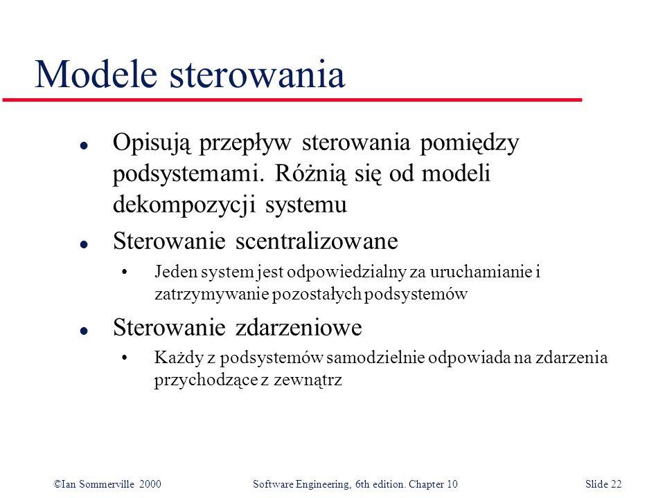 Modele sterowania Opisują przepływ sterowania pomiędzy podsystemami. Różnią się od modeli dekompozycji systemu.
