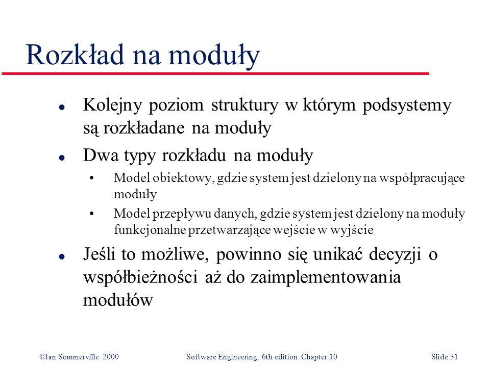 Rozkład na moduły Kolejny poziom struktury w którym podsystemy są rozkładane na moduły. Dwa typy rozkładu na moduły.