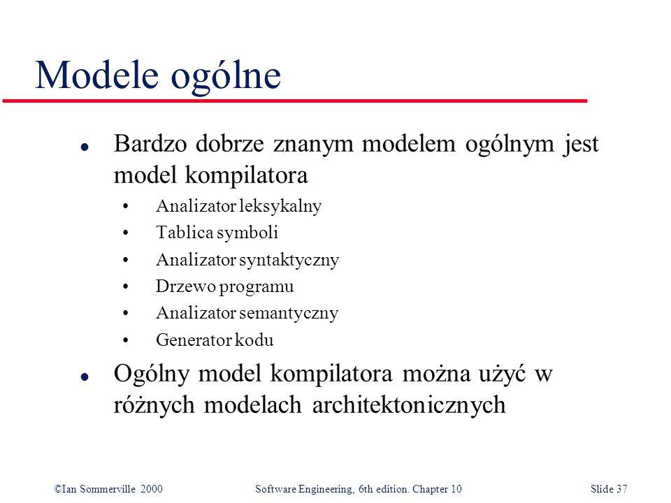 Modele ogólne Bardzo dobrze znanym modelem ogólnym jest model kompilatora. Analizator leksykalny. Tablica symboli.
