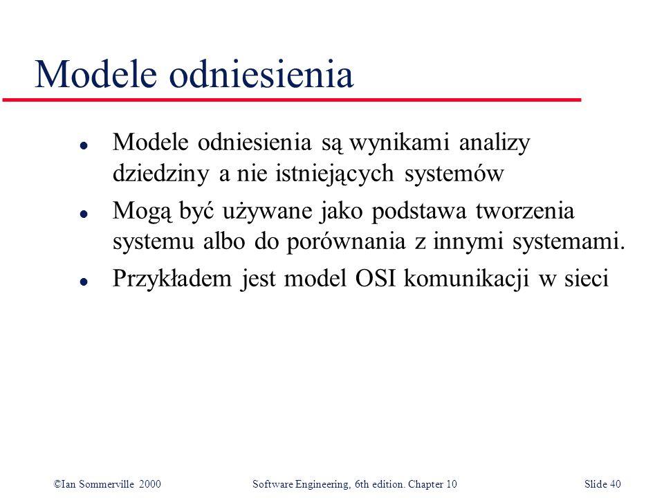 Modele odniesieniaModele odniesienia są wynikami analizy dziedziny a nie istniejących systemów.