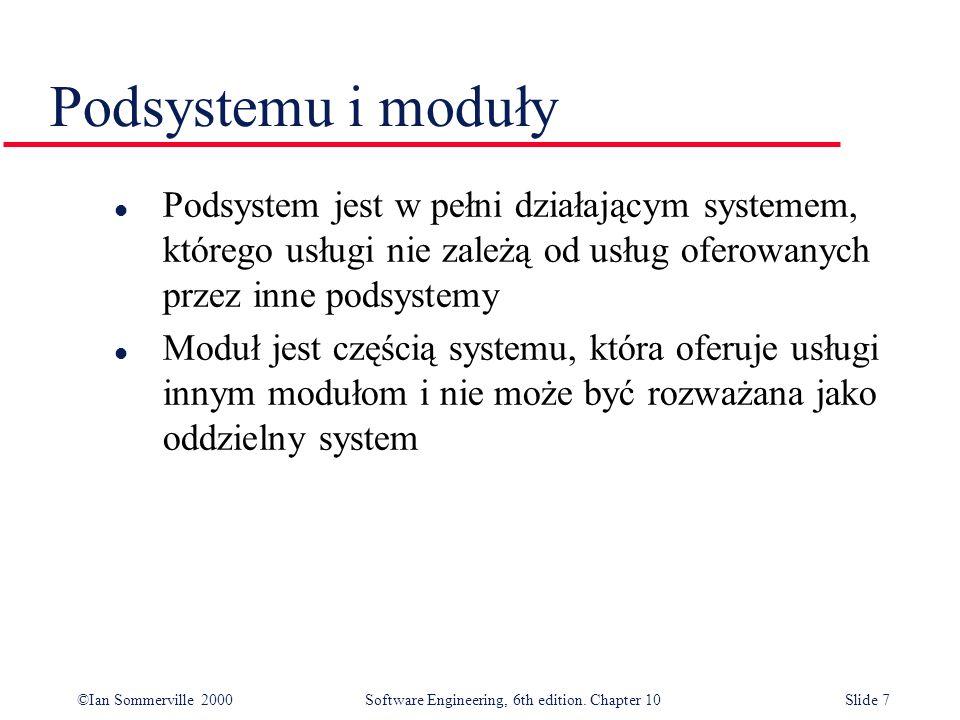 Podsystemu i moduły Podsystem jest w pełni działającym systemem, którego usługi nie zależą od usług oferowanych przez inne podsystemy.