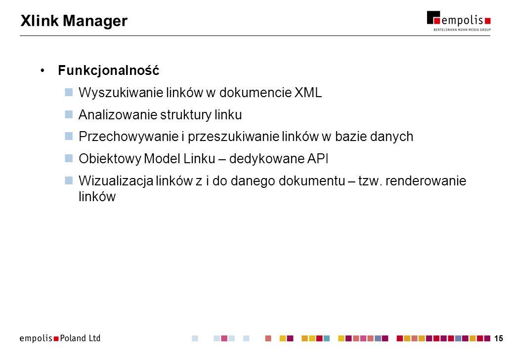 Xlink Manager Funkcjonalność Wyszukiwanie linków w dokumencie XML