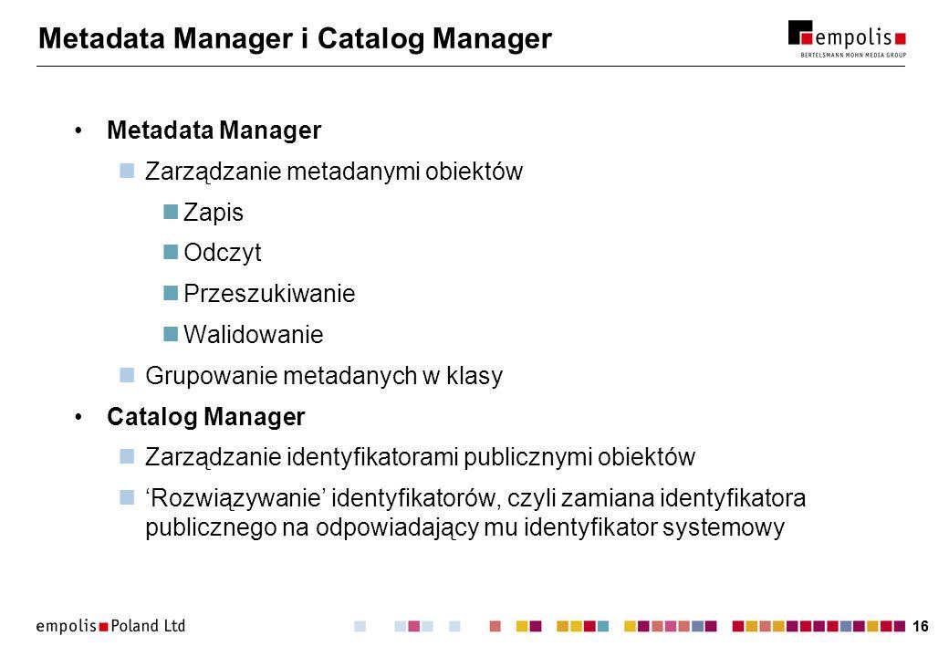 Metadata Manager i Catalog Manager