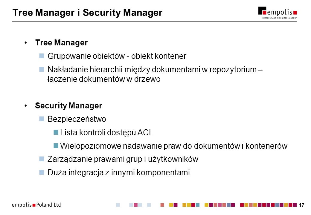 Tree Manager i Security Manager