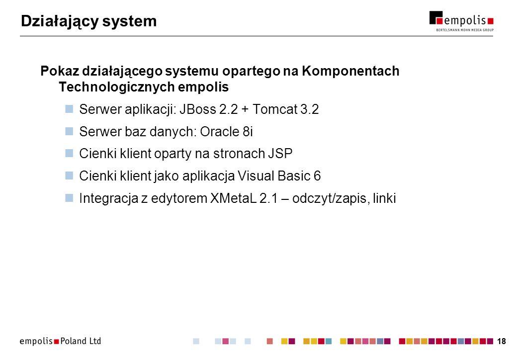 Działający system Pokaz działającego systemu opartego na Komponentach Technologicznych empolis. Serwer aplikacji: JBoss 2.2 + Tomcat 3.2.