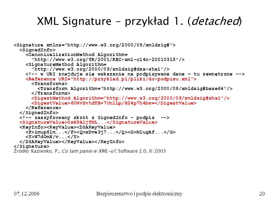 XML Signature – przykład 1. (detached)