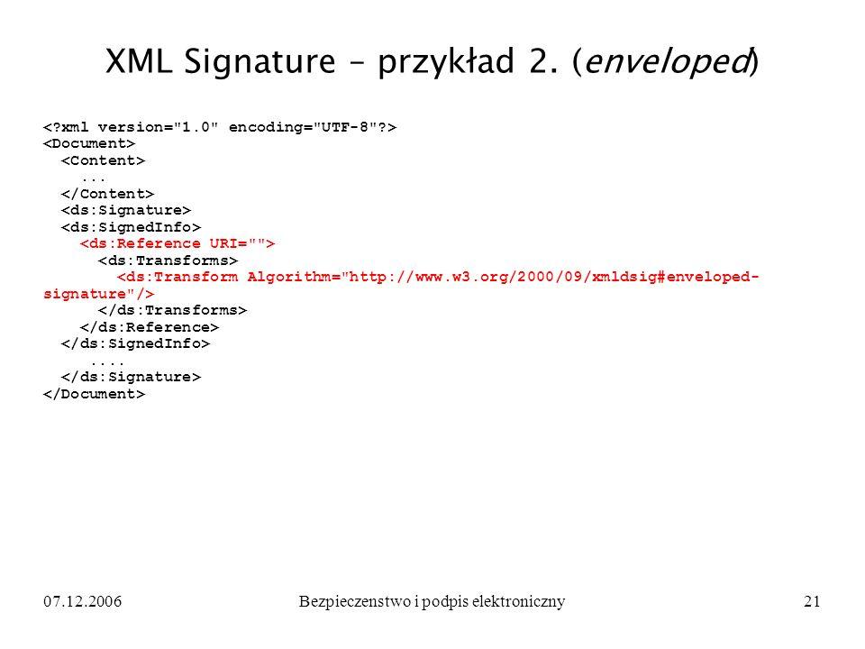 XML Signature – przykład 2. (enveloped)
