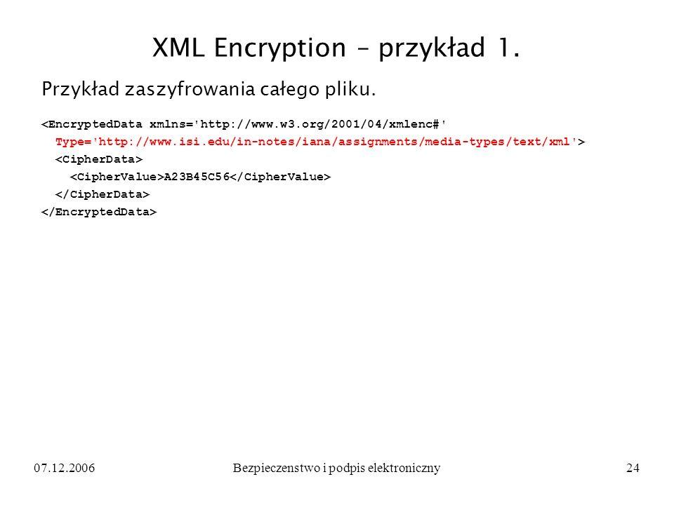 XML Encryption – przykład 1.
