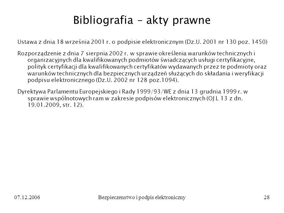 Bibliografia – akty prawne