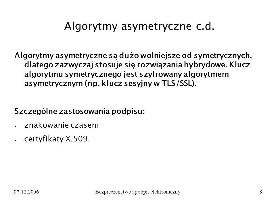 Algorytmy asymetryczne c.d.