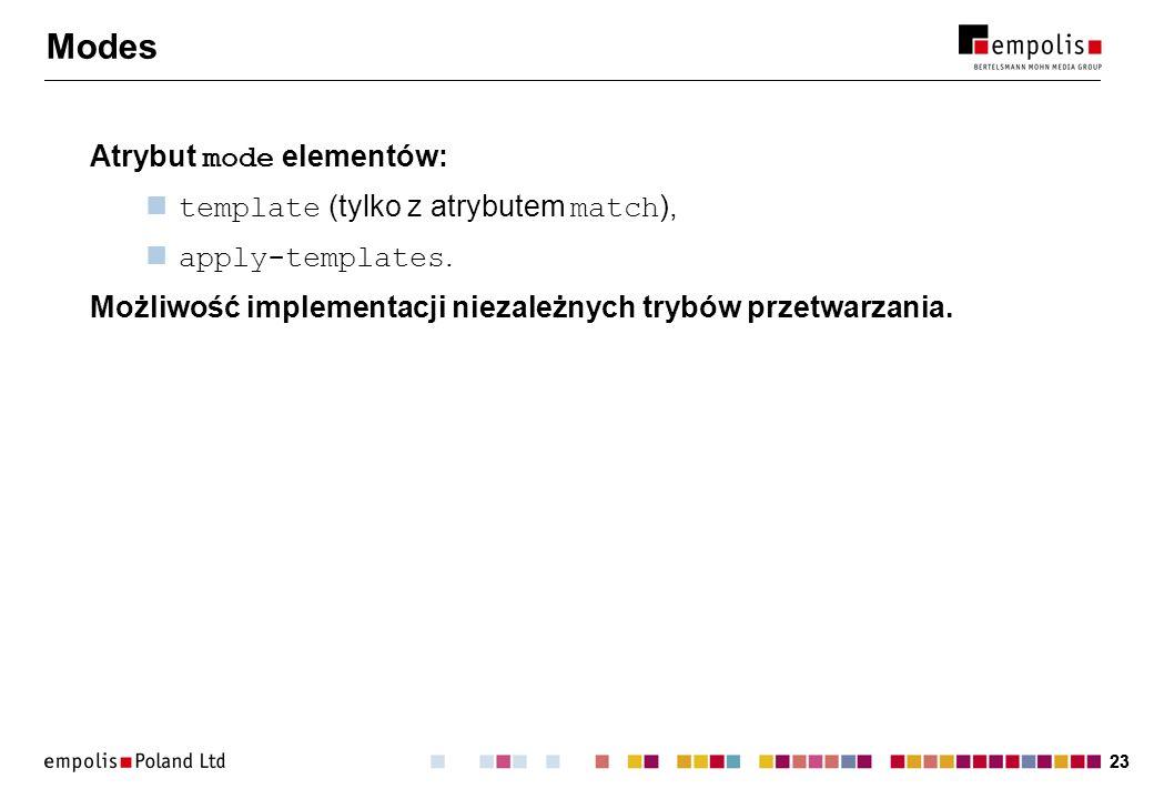 Modes Atrybut mode elementów: template (tylko z atrybutem match),