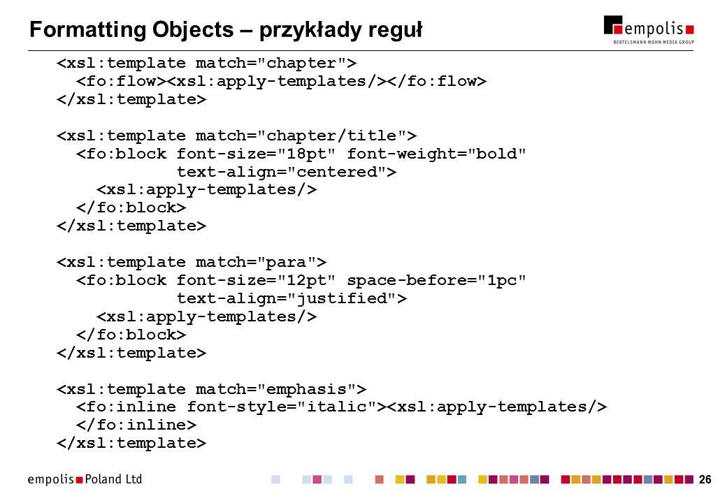 Formatting Objects – przykłady reguł