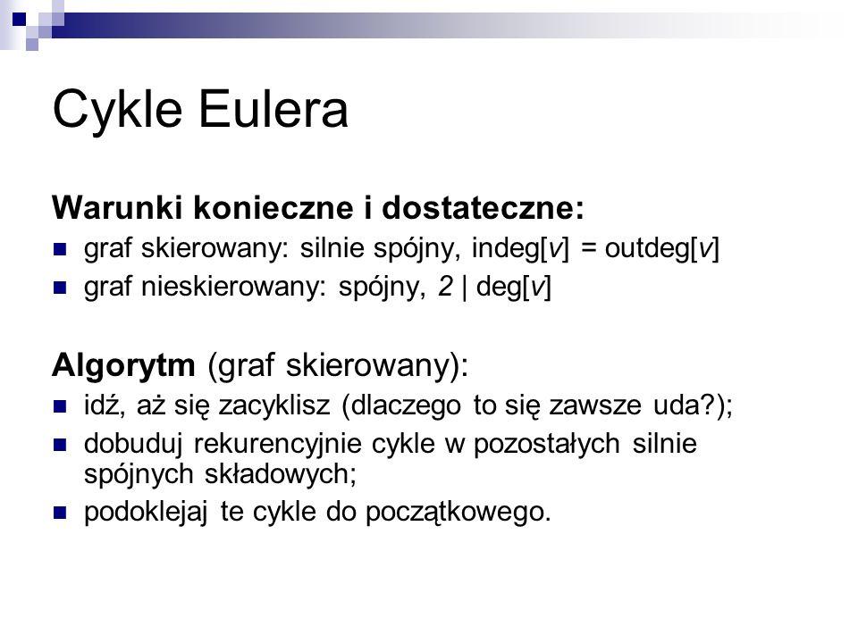 Cykle Eulera Warunki konieczne i dostateczne: