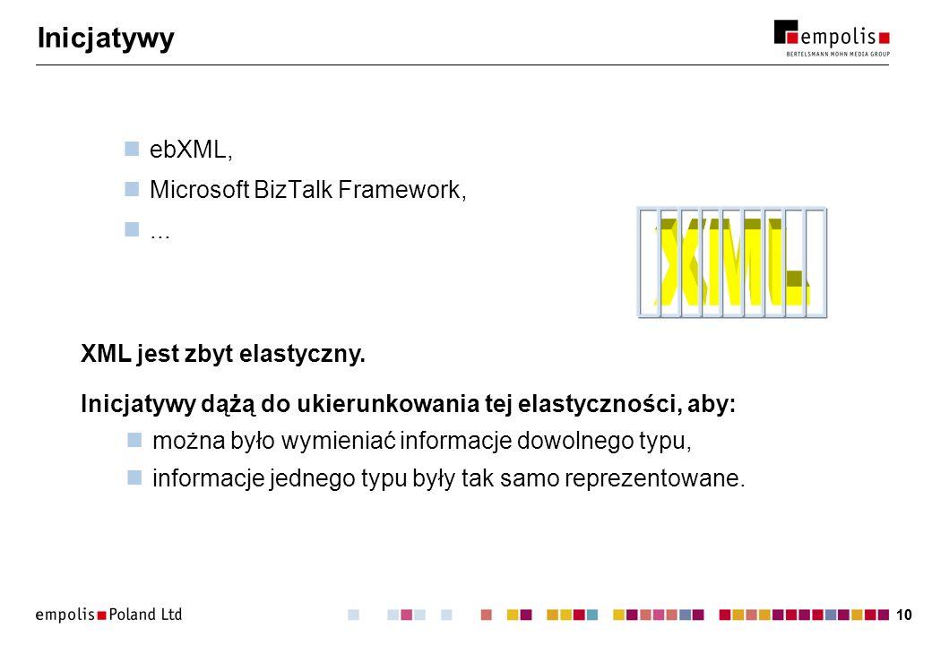 XML Inicjatywy ebXML, Microsoft BizTalk Framework, ...