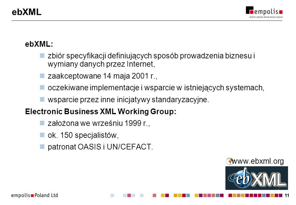 ebXML ebXML: zbiór specyfikacji definiujących sposób prowadzenia biznesu i wymiany danych przez Internet,