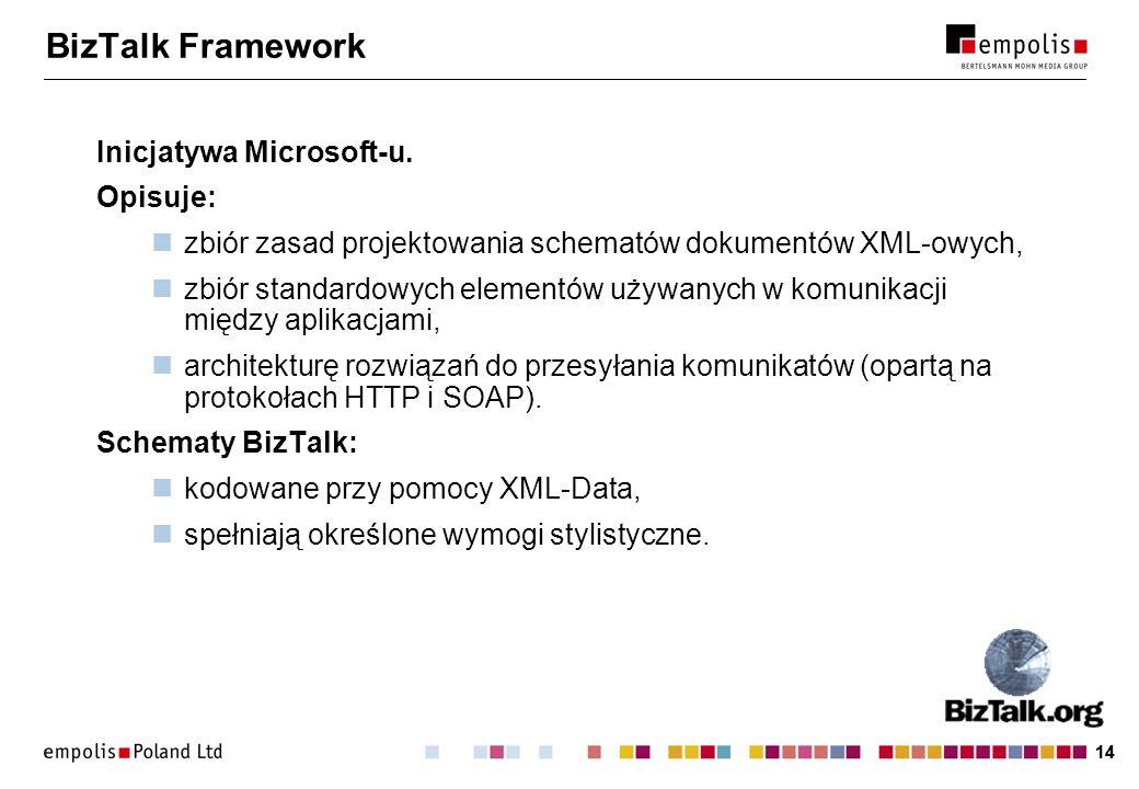 BizTalk Framework Inicjatywa Microsoft-u. Opisuje: