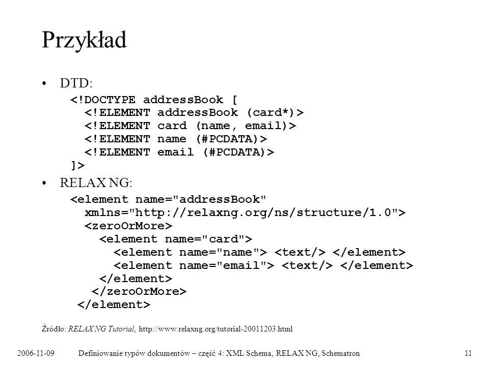 Przykład DTD: RELAX NG: