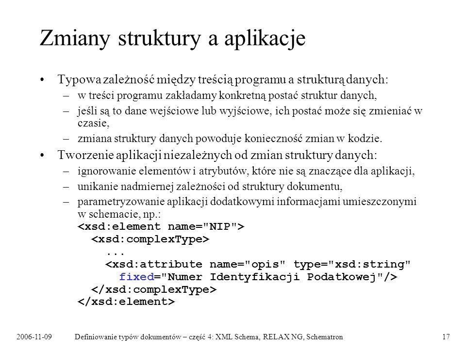Zmiany struktury a aplikacje