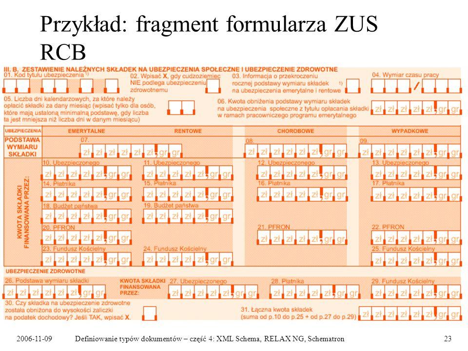 Przykład: fragment formularza ZUS RCB