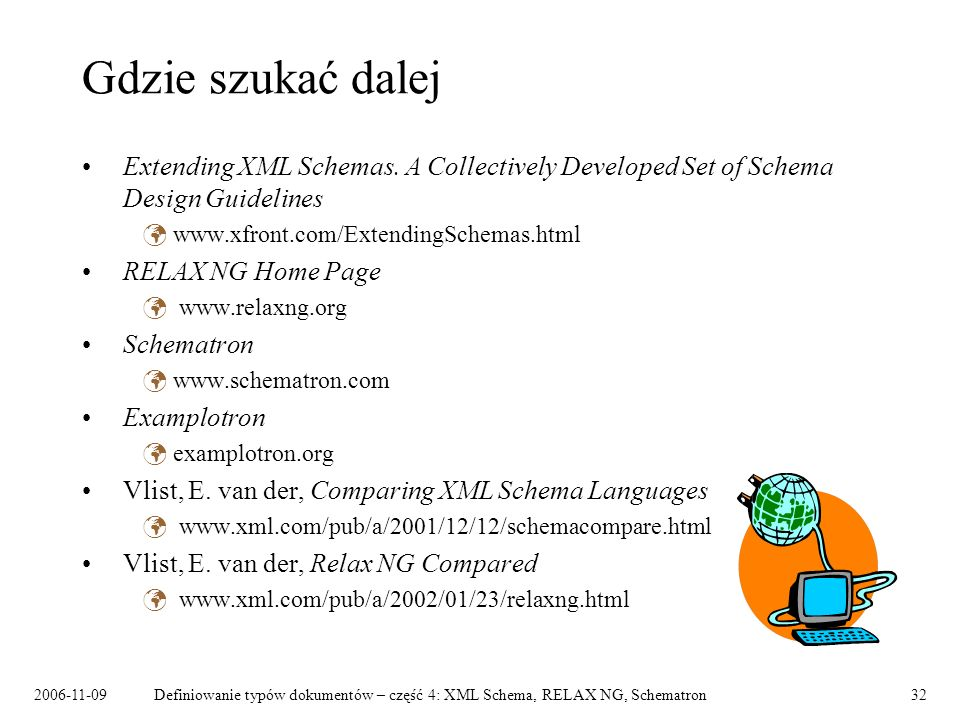 Gdzie szukać dalej Extending XML Schemas. A Collectively Developed Set of Schema Design Guidelines.