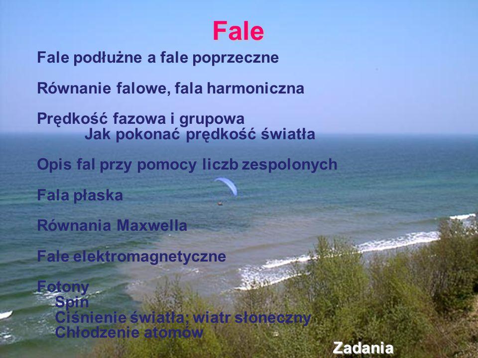 Fale Fale podłużne a fale poprzeczne Równanie falowe, fala harmoniczna