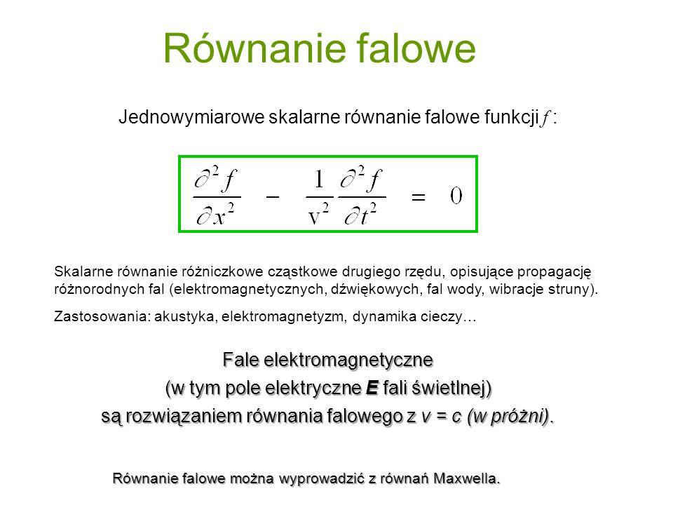 Równanie falowe Jednowymiarowe skalarne równanie falowe funkcji f :