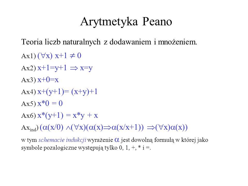 Arytmetyka Peano Teoria liczb naturalnych z dodawaniem i mnożeniem.