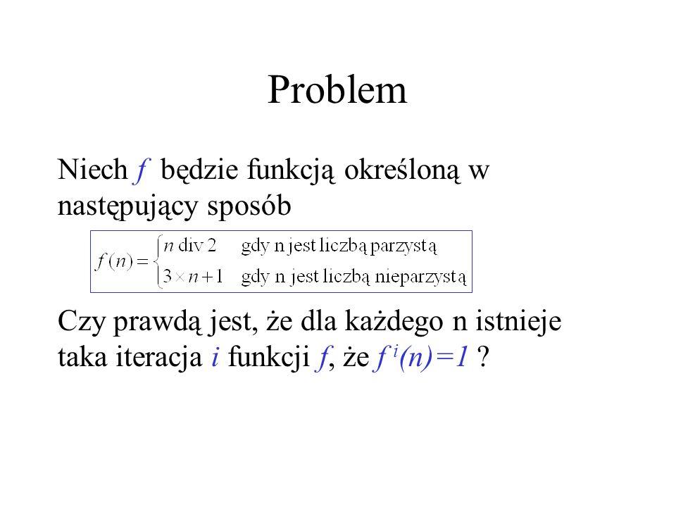 Problem Niech f będzie funkcją określoną w następujący sposób