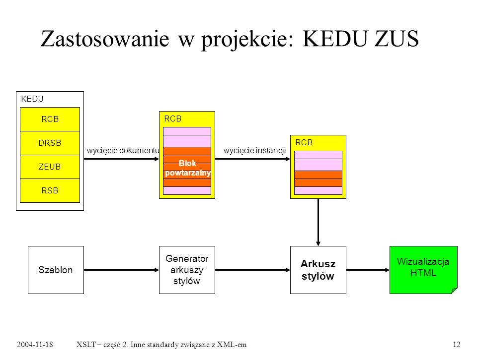 Zastosowanie w projekcie: KEDU ZUS