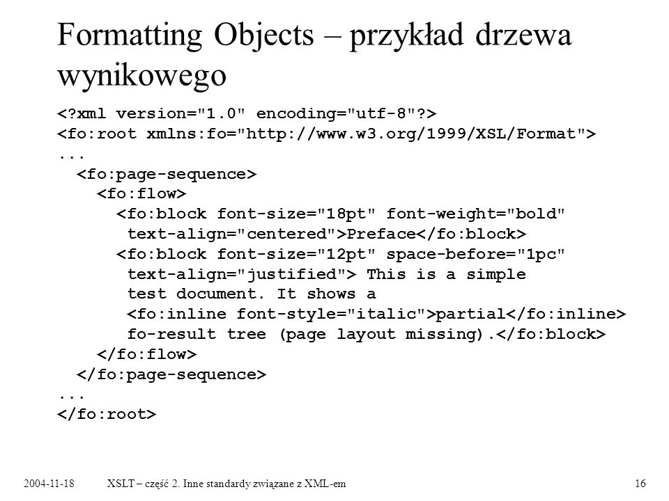 Formatting Objects – przykład drzewa wynikowego