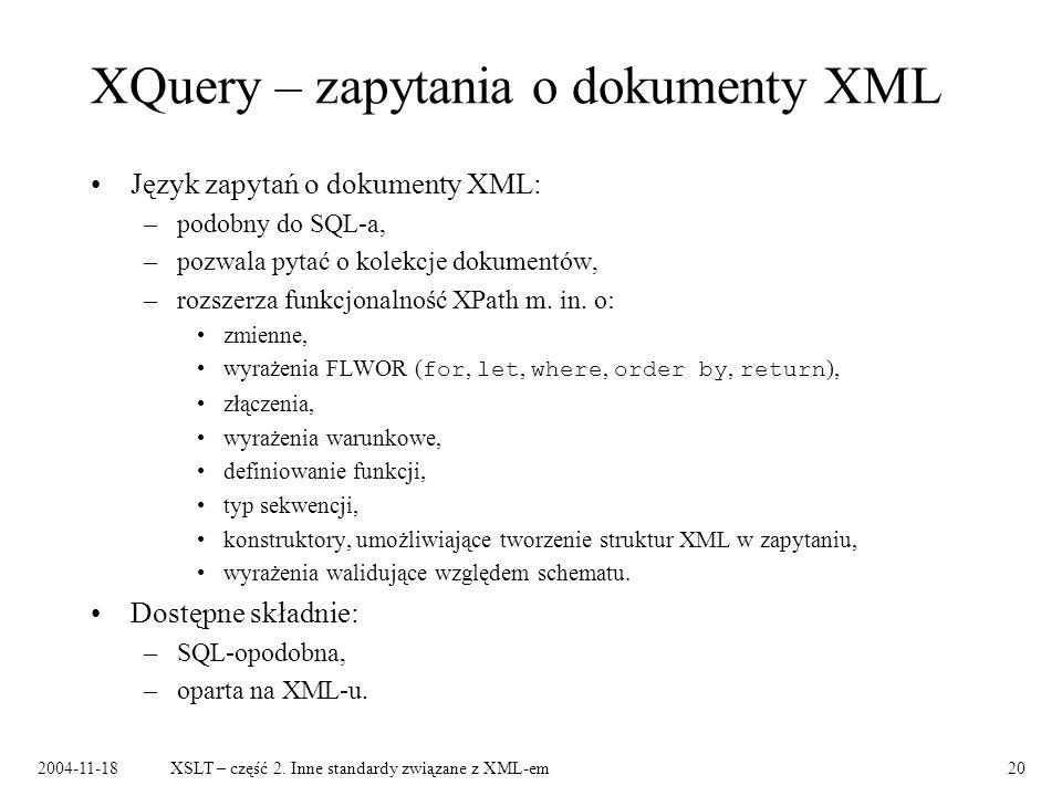 XQuery – zapytania o dokumenty XML