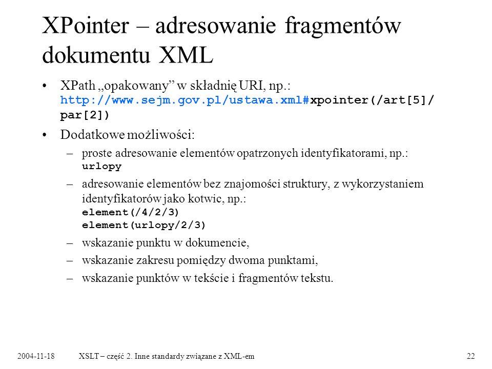 XPointer – adresowanie fragmentów dokumentu XML