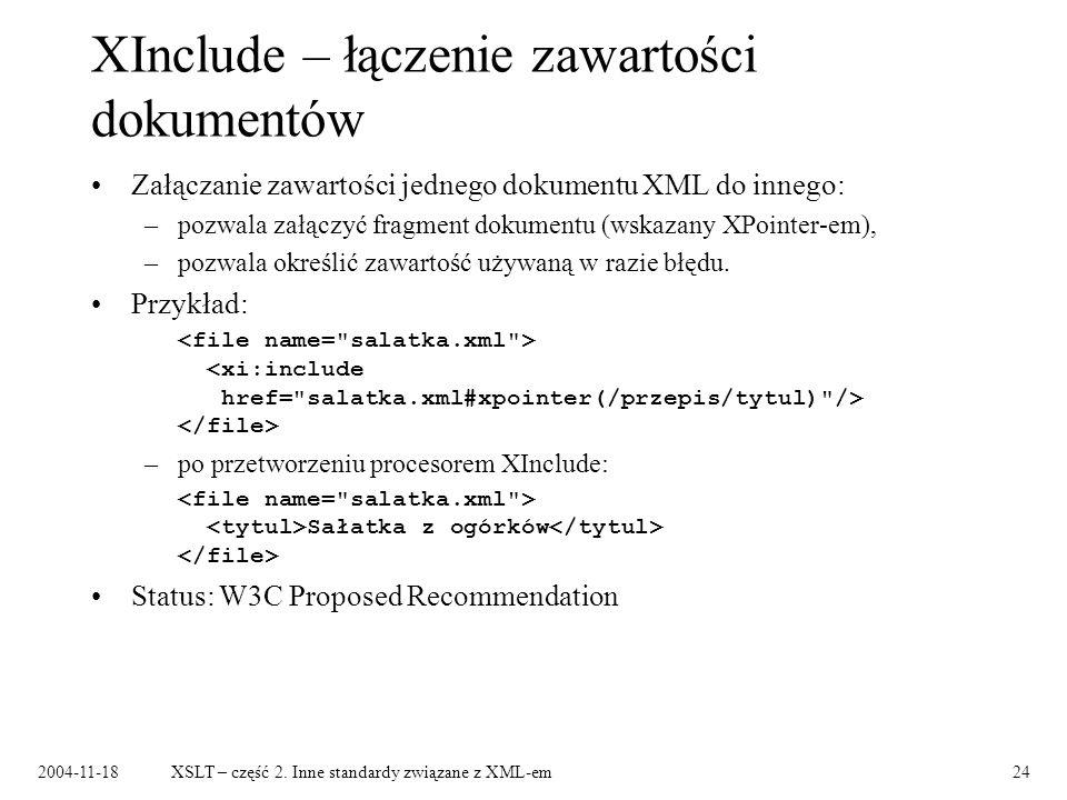 XInclude – łączenie zawartości dokumentów