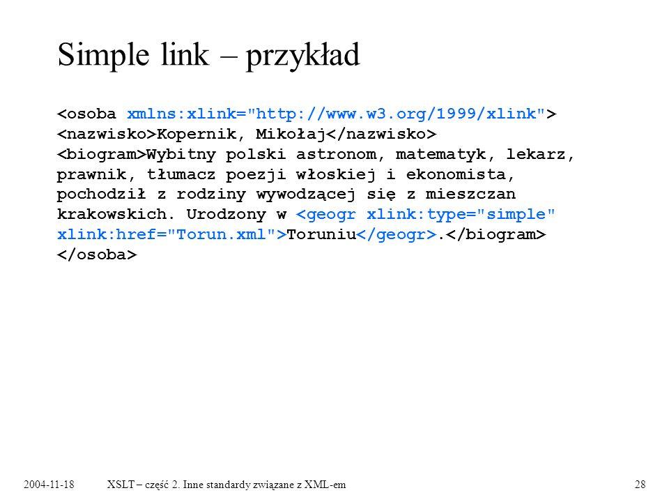 Simple link – przykład