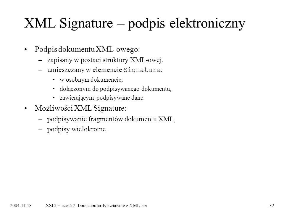 XML Signature – podpis elektroniczny