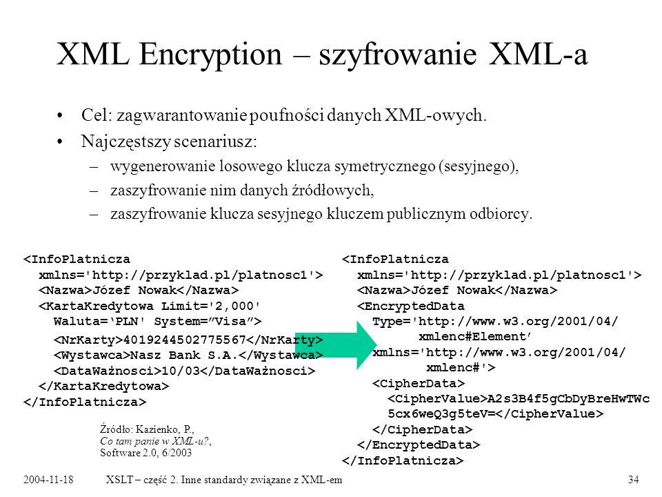 XML Encryption – szyfrowanie XML-a