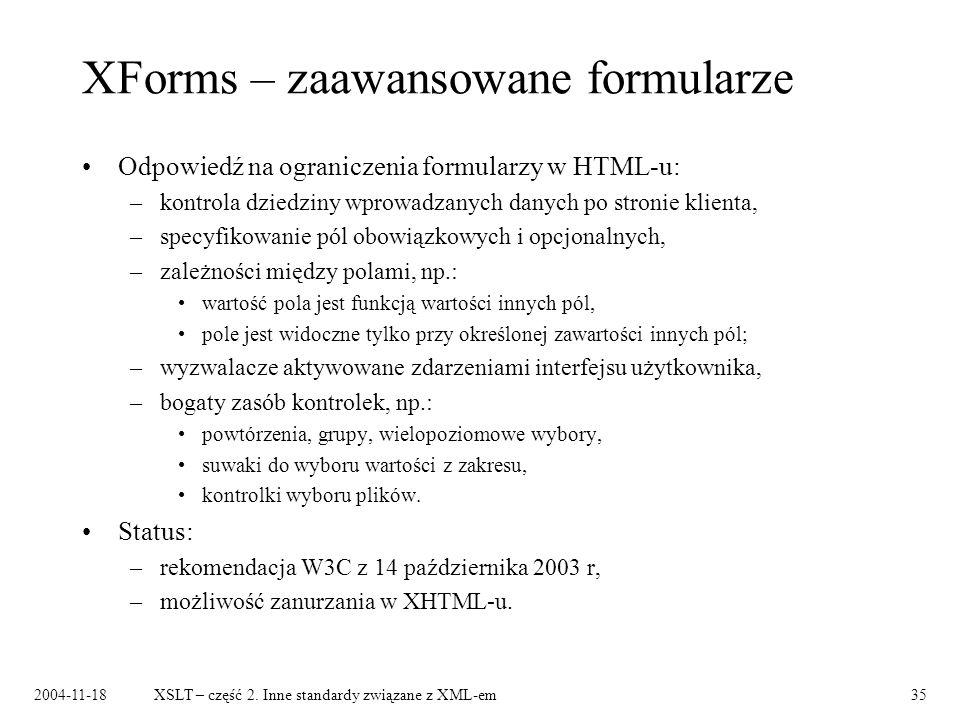 XForms – zaawansowane formularze