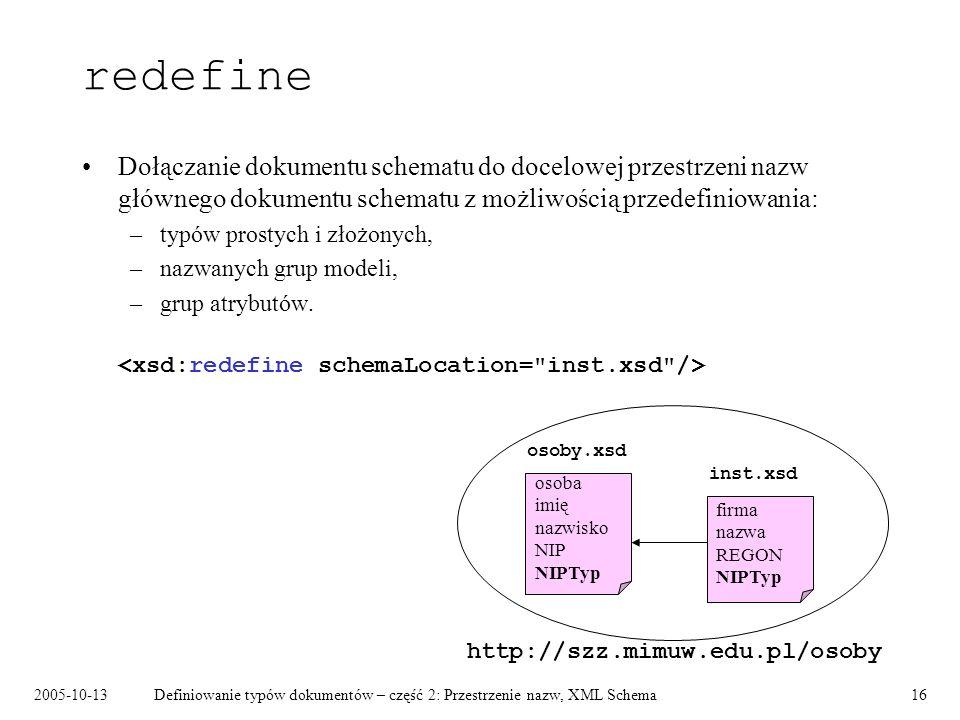 redefine Dołączanie dokumentu schematu do docelowej przestrzeni nazw głównego dokumentu schematu z możliwością przedefiniowania: